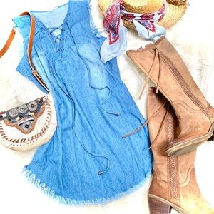 HOST PICK✨distressed TUNIC/dress with BOHO lacing